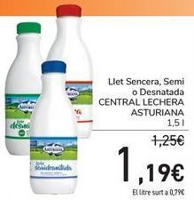Oferta de Leche entera, semi o desnatada CENTRAL LECHERA ASTURIANA  por 1,19€