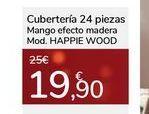 Oferta de Cubertería 24 piezas Mango efecto madera Mod. HAPPIE WOOD por 19,9€