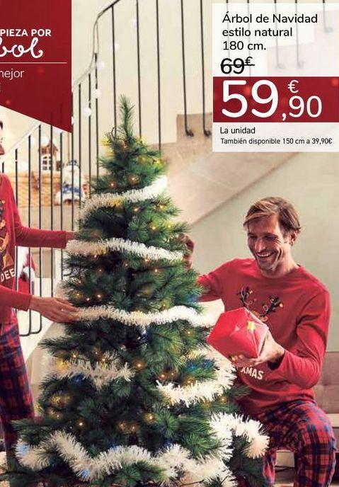 Oferta de Árbol de navidad estilo natural 180cm por 59,9€