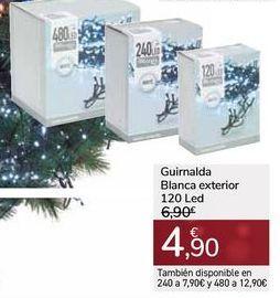 Oferta de Guirnalda Blanca exterior 120 Led por 4,9€