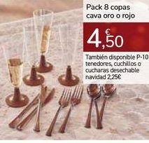 Oferta de Pack 8 copas cava oro o rojo por 4,5€