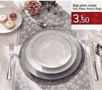 Oferta de Bajo plato cristal Oro, Plata, Rosa o Rojo por 3,5€