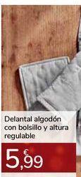 Oferta de Delantal algodón con bolsillo y altura regulable por 5,99€