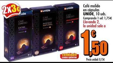 Oferta de Café molido en cápsulas UNIDE  por 1,75€