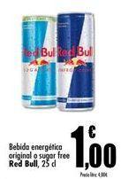 Oferta de Bebida energética original o sugar free Red Bull  por 1€