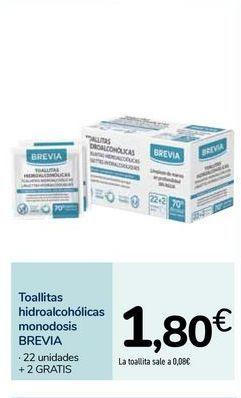 Oferta de Toallitas hidroalcohólicas monodosis BREVIA por 1,8€