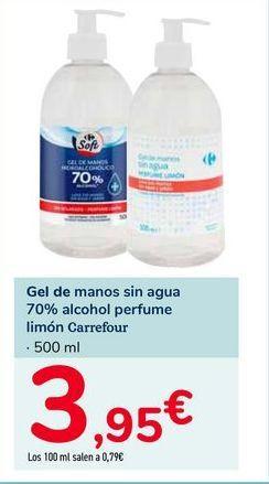 Oferta de Gel de manos sin agua 70% alcohol perfume limón Carrefour por 3,95€