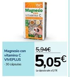 Oferta de Magnesio con vitamina C VIVEPLUS por 5,05€