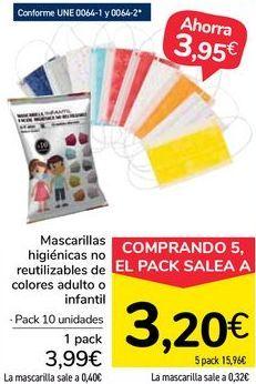 Oferta de Mascarillas higiénicas no reutilizables de colores adulto o infantil por 3,99€