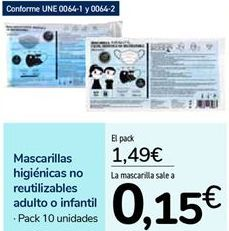 Oferta de Mascarillas higiénicas no reutilizables adulto o infantil por 1,49€