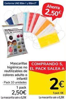 Oferta de Mascarillas higiénicas no reutilizables de colores adulto o infantil por 2,5€