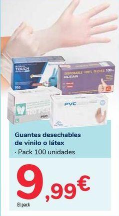Oferta de Guantes desechables de vinilo o látex por 9,99€
