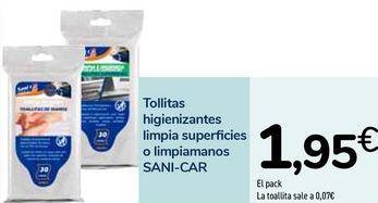 Oferta de Toallitas higienizantes limpia superficies o limpiamanos SANI-CAR por 1,95€
