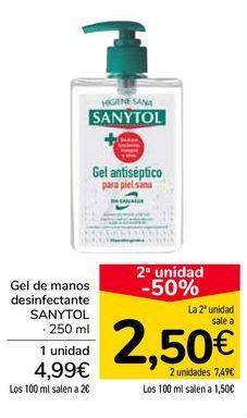 Oferta de Gel de manos desinfectante SANYTOL por 4,99€