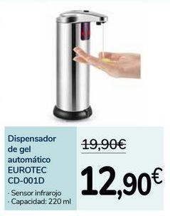 Oferta de Dispensador de gel automático EUROTEC CD-001D por 12,9€