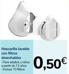 Oferta de Mascarilla lavable con filtros desechables por 0,5€