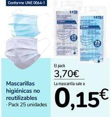 Oferta de Mascarillas higiénicas no reutilizables por 3,7€