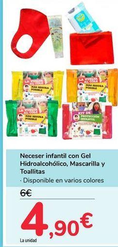 Oferta de Neceser infantil con Gel Hidroalcohólico, Mascarilla y Toallitas por 4,9€