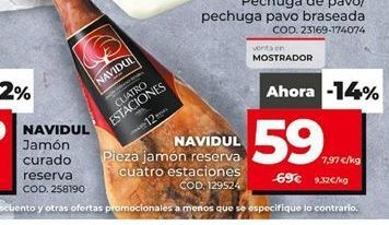 Oferta de Jamón reserva Navidul por 59€