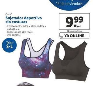 Oferta de Sujetador deportivo sin costura Crivit por 9,99€