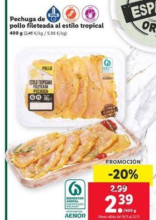 Oferta de Pechuga de pollo por 2,39€