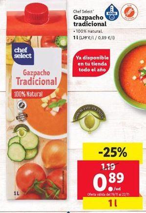 Oferta de Gazpacho chef select por 0,89€