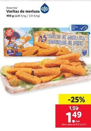 Oferta de Varitas de merluza por 1,49€