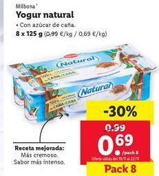 Oferta de Yogur natural Milbona por 0,69€
