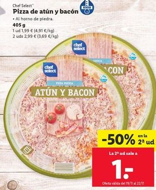 Oferta de Pizza de atún chef select por 1,99€