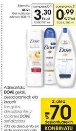 Oferta de Los geles desodorantes y lociones DOVE Señalizados  por 3,3€