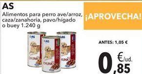 Oferta de AS Alimentos para perro ave/arroz, caza/zanahorias, pavo/hígado o buey  por 0,85€