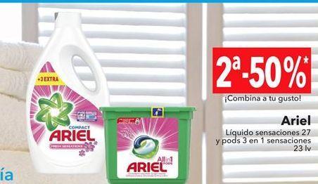 Oferta de Ariel Liquido sensaciones 27 y pods 3 en 1 sensaciones  por