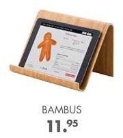 Oferta de BAMBUS Soporte tableta atril de cocina natural A 16 x An. 27 x P 16 cm por 11,95€