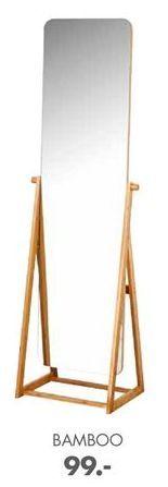 Oferta de BAMBOO Espejo de cuerpo marrón A 172 x An. 47 x P 42 cm por 99€