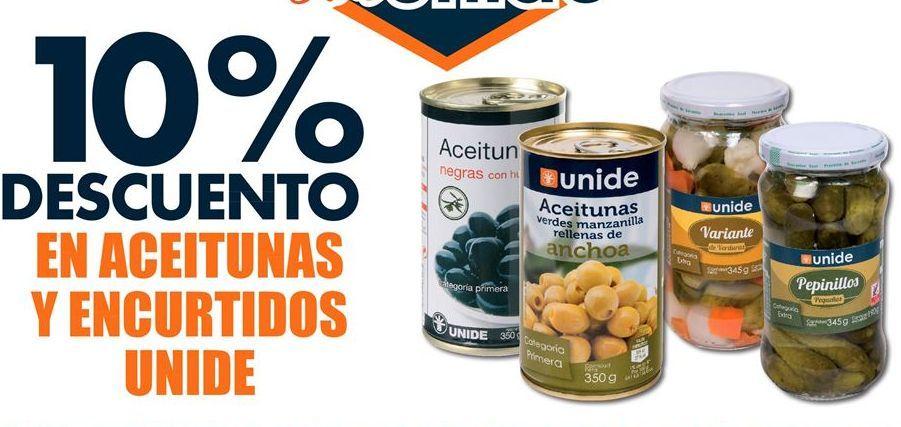 Oferta de 10% de descuento en aceitunas y encurtidos Unide por