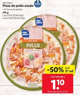 Oferta de Pizza de pollo por 2,19€