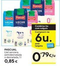 Oferta de Leche semidesnatada o desnatada Pascual  por 0,79€