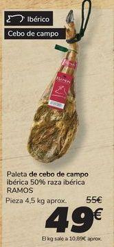 Oferta de Paleta de cebo de campo ibérica 50% raza ibérica RAMOS por 49€