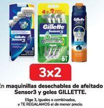 Oferta de En maquinillas desechables de afeitado Sensor3 y geles GILLETTE  por