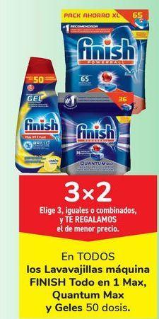 Oferta de En TODOS los lavavajillas máquina FINISH Todo en 1 Max, Quantum Max y Geles  por