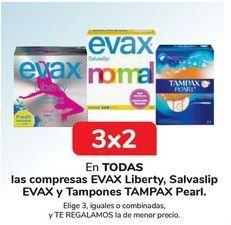 Oferta de En TODAS las compreas EVAX Libery, Salvaslip EVAX y Tampones TAMPAX Pearl por