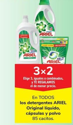 Oferta de En TODOS los detergentes ARIEL Original líquido. cápsulas y polvo por