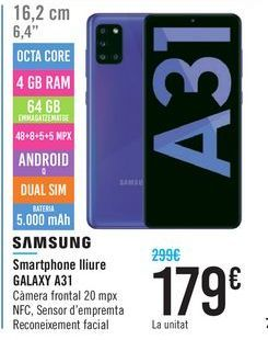 Oferta de Smartphone libre GALAXY A31 SAMSUNG por 179€