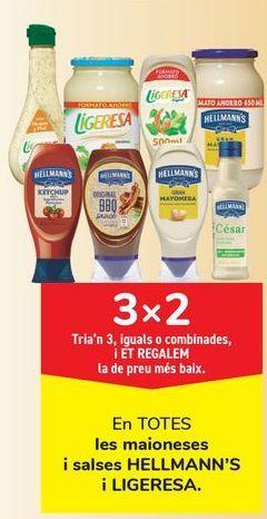 Oferta de En TODAS las mayonesas y salsas HELLMANN'S y LIGERESA por