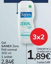 Oferta de Gel SANEX Zero Piel normal por 2,84€
