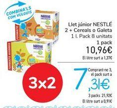 Oferta de Leche junior NESTLÉ 2+ Cereales o galleta  por 10,96€