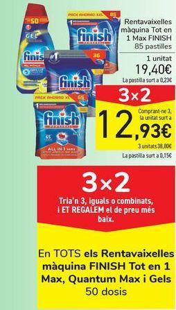 Oferta de Lavavajillas máquina todo en 1 Max FINISH por 19,4€