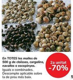 Oferta de En TODAS las mallas de 500g de almejas, bígaros, navajas o berberechos por