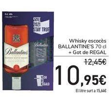 Oferta de Whisky escocés Ballantine's + vaso de regalo  por 10,95€