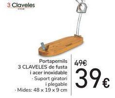 Oferta de Jamonero 3 CLAVES de madera y acero inoxidable por 39€